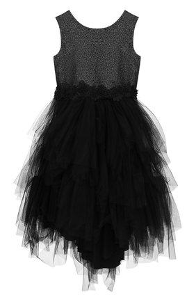 Платье с металлизированной отделкой и многослойной юбкой | Фото №1