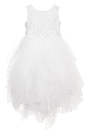 Платье с металлизированной отделкой и многослойной юбкой   Фото №1