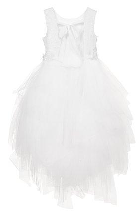 Платье с металлизированной отделкой и многослойной юбкой | Фото №2