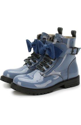 Лаковые ботинки с бантом на ремешке | Фото №1