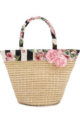 Соломенная сумка с текстильной отделкой   Фото №1