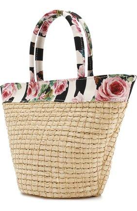 Соломенная сумка с текстильной отделкой   Фото №2