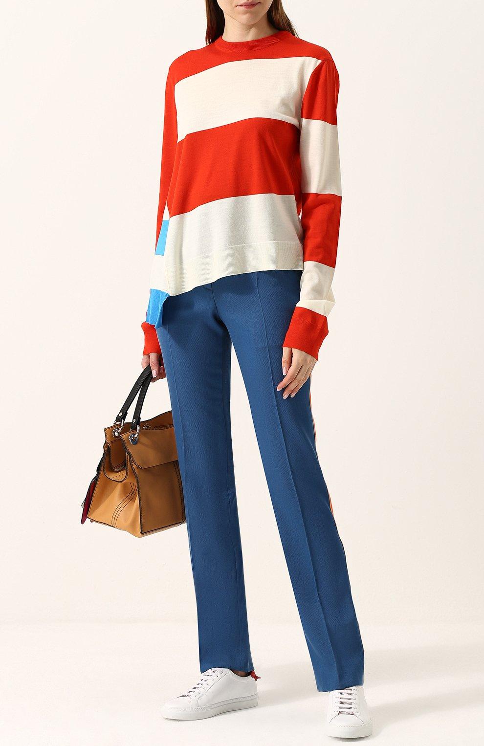 Шерстяной пуловер свободного кроя с круглым вырезом CALVIN KLEIN 205W39NYC красный | Фото №2