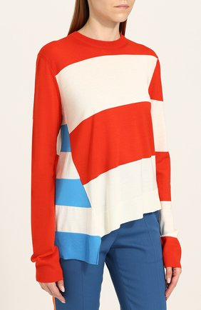 Шерстяной пуловер свободного кроя с круглым вырезом CALVIN KLEIN 205W39NYC красный | Фото №3