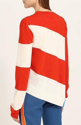 Шерстяной пуловер свободного кроя с круглым вырезом CALVIN KLEIN 205W39NYC красный | Фото №4