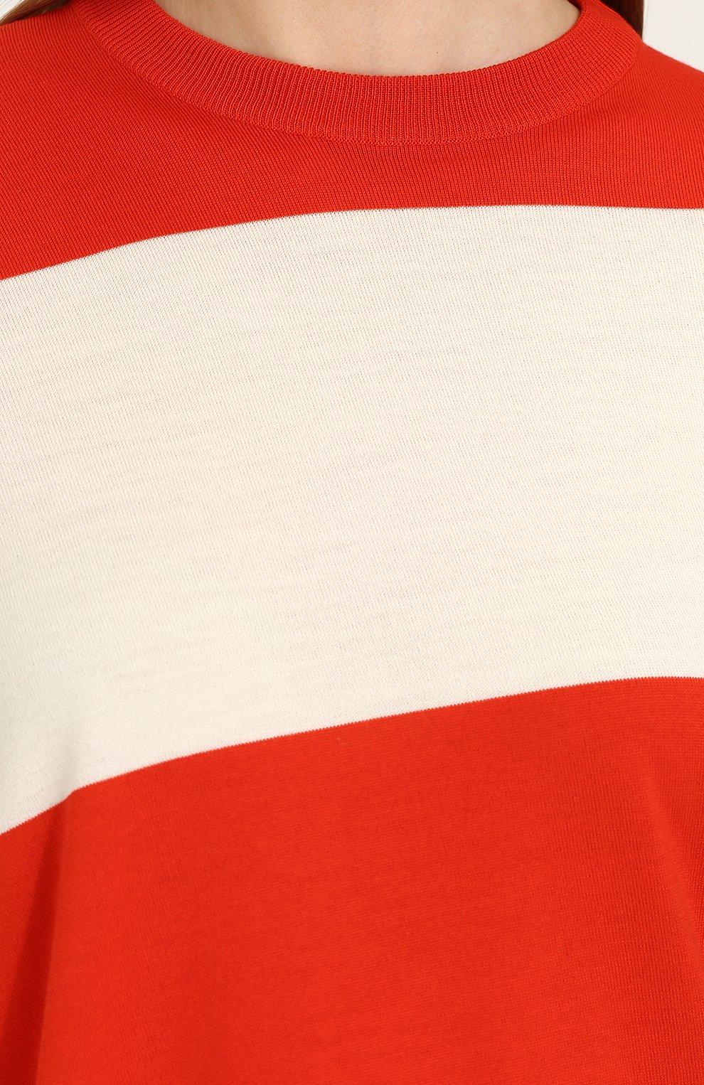 Шерстяной пуловер свободного кроя с круглым вырезом CALVIN KLEIN 205W39NYC красный | Фото №5