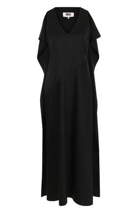 Однотонное платье-миди с V-образным вырезом | Фото №1