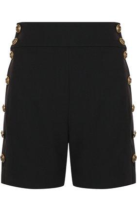 Мини-шорты с контрастными пуговицами и завышенной талией