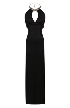 Однотонное платье-макси с декоративной отделкой и открытой спиной | Фото №1