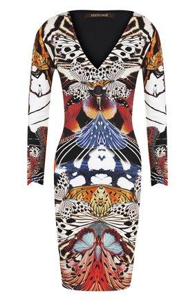 Платье-футляр с укороченным рукавом и принтом | Фото №1
