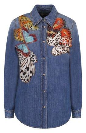 Джинсовая блуза с потертостями и отделкой в виде бабочек | Фото №1