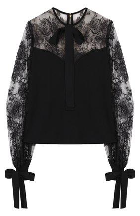 Приталенная блуза с бантами и кружевными вставками | Фото №1