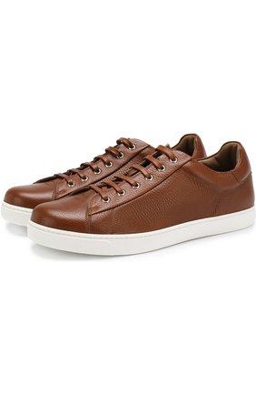Мужские кожаные кеды на шнуровке GIANVITO ROSSI светло-коричневого цвета, арт. S26340.M1WHT.B0XSELL | Фото 1