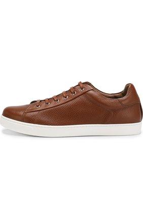 Мужские кожаные кеды на шнуровке GIANVITO ROSSI светло-коричневого цвета, арт. S26340.M1WHT.B0XSELL | Фото 2