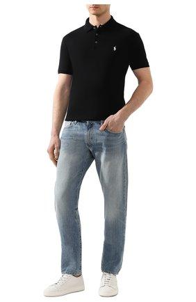 Мужское хлопковое поло POLO RALPH LAUREN черного цвета, арт. 710541705 | Фото 2