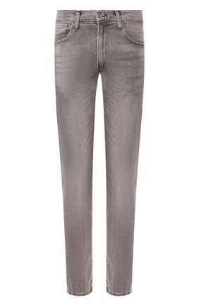 Джинсы прямого кроя с потертостями Polo Ralph Lauren серые | Фото №1