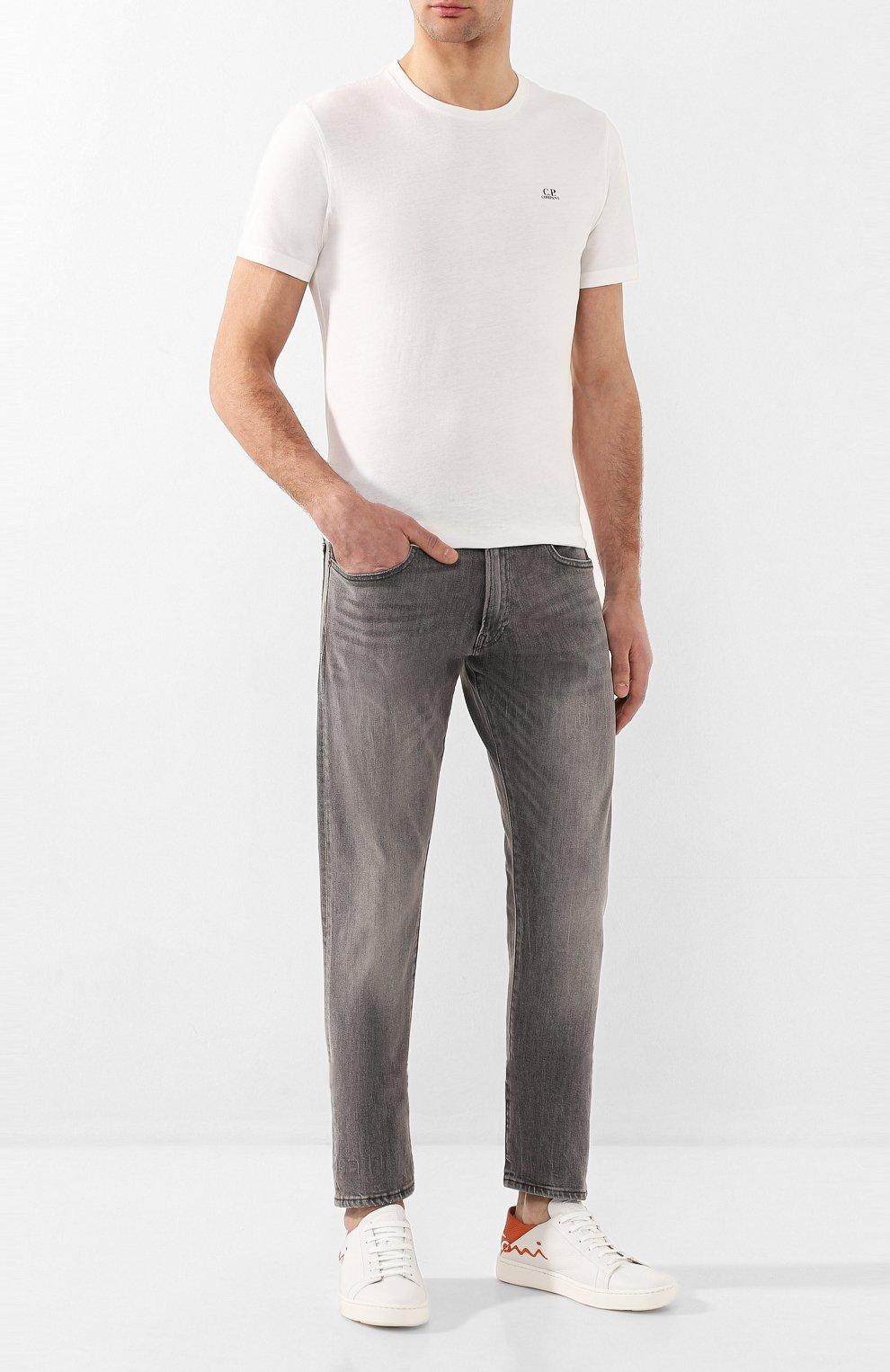 Джинсы прямого кроя с потертостями Polo Ralph Lauren серые | Фото №2