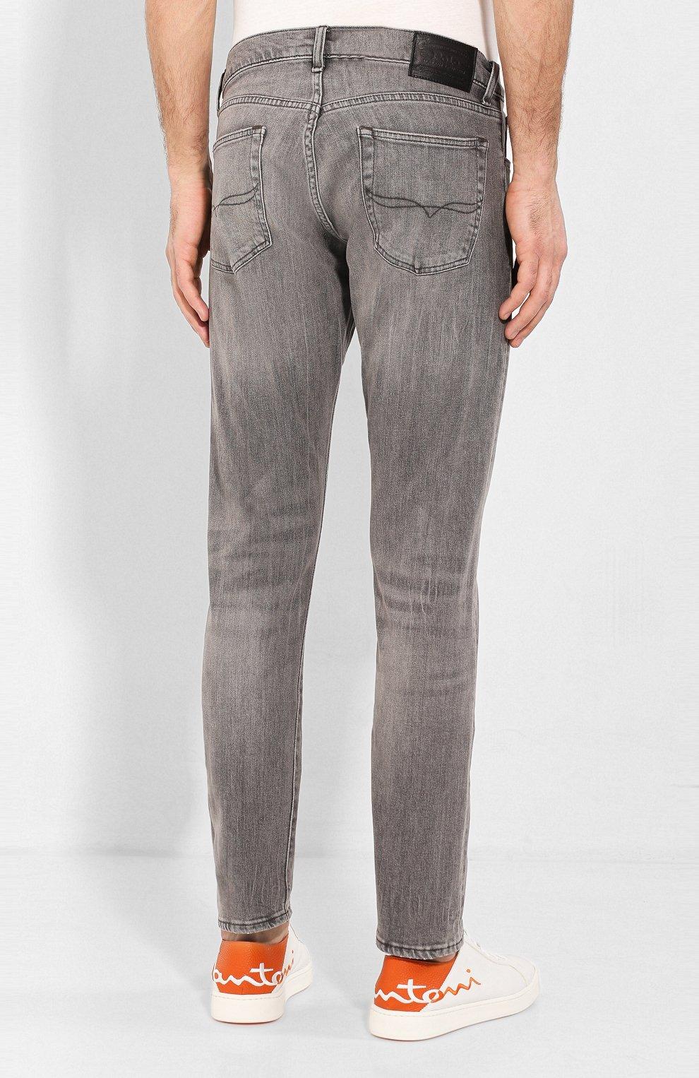 Джинсы прямого кроя с потертостями Polo Ralph Lauren серые | Фото №4