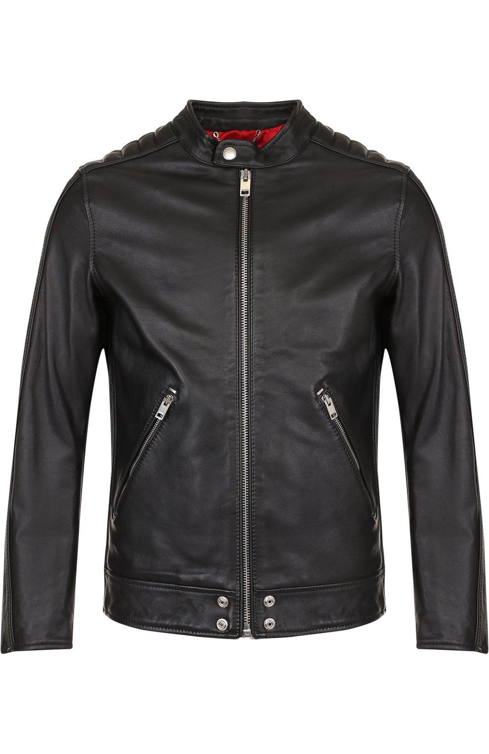 Кожаная куртка с укороченным рукавом и воротником-стойкой | Фото №1