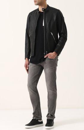Кожаная куртка с укороченным рукавом и воротником-стойкой Diesel черная | Фото №2