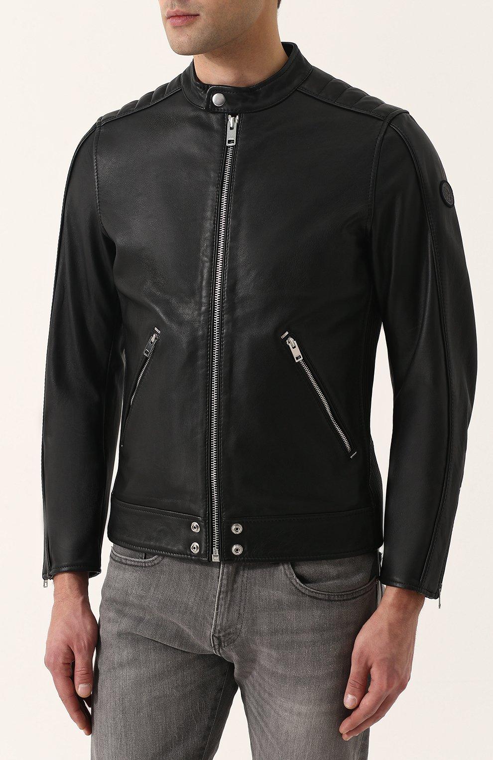 Кожаная куртка с укороченным рукавом и воротником-стойкой Diesel черная | Фото №3