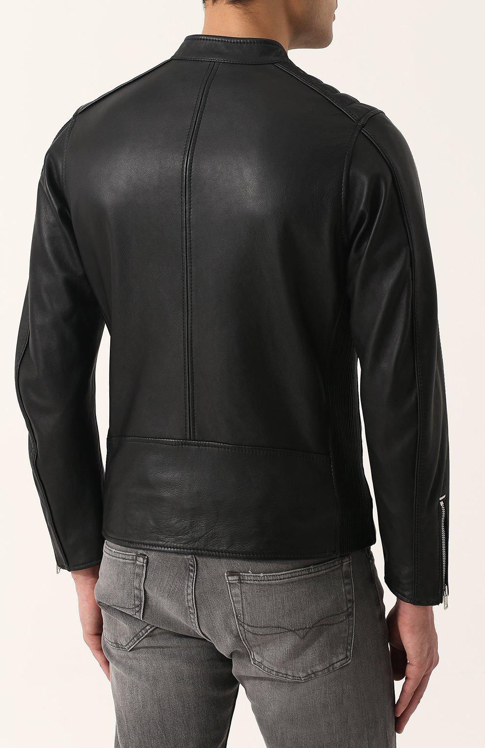 Кожаная куртка с укороченным рукавом и воротником-стойкой Diesel черная | Фото №4