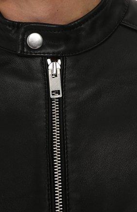 Кожаная куртка с укороченным рукавом и воротником-стойкой Diesel черная | Фото №5