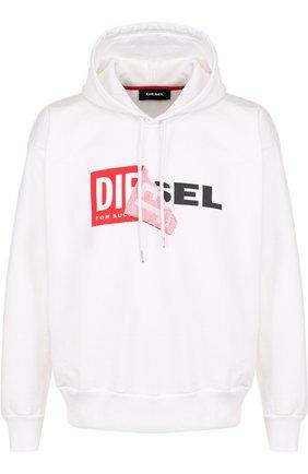 Хлопковая толстовка с логотипом бренда и капюшоном Diesel белый | Фото №1