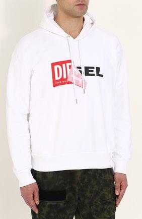 Хлопковая толстовка с логотипом бренда и капюшоном Diesel белый | Фото №3
