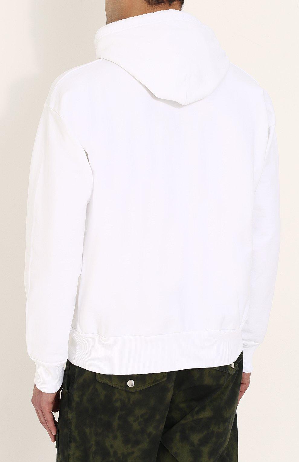 Хлопковая толстовка с логотипом бренда и капюшоном Diesel белый | Фото №4
