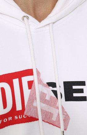 Хлопковая толстовка с логотипом бренда и капюшоном Diesel белый | Фото №5
