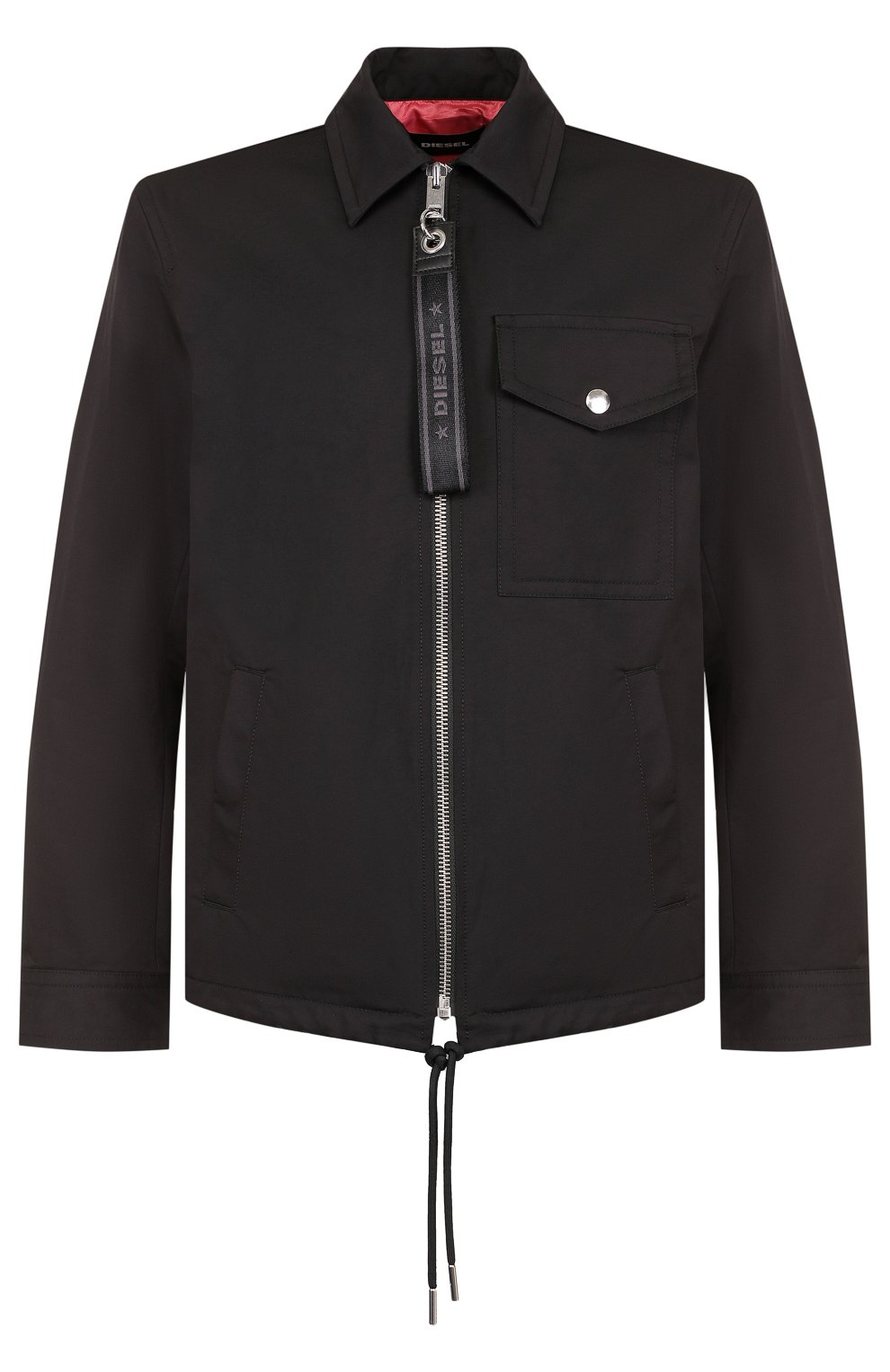 Однотонная хлопковая куртка с отложным воротником | Фото №1