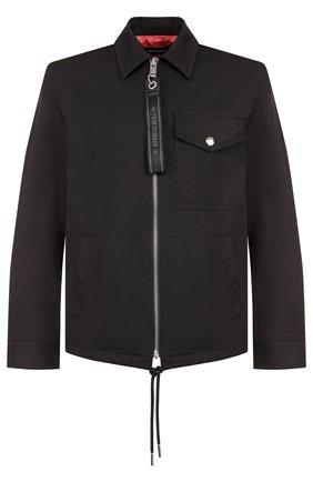 Однотонная хлопковая куртка с отложным воротником Diesel черная | Фото №1