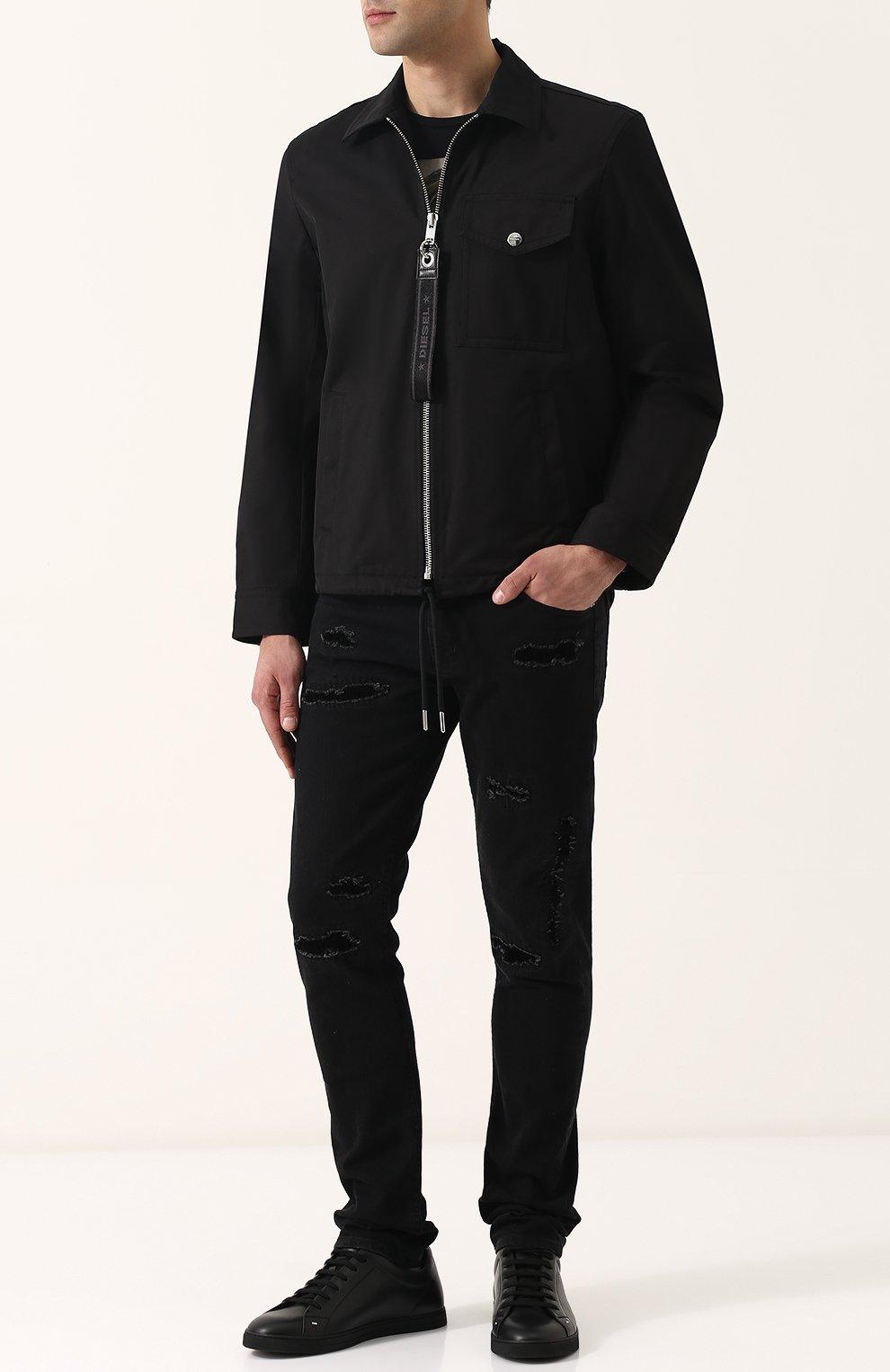 Однотонная хлопковая куртка с отложным воротником Diesel черная | Фото №2