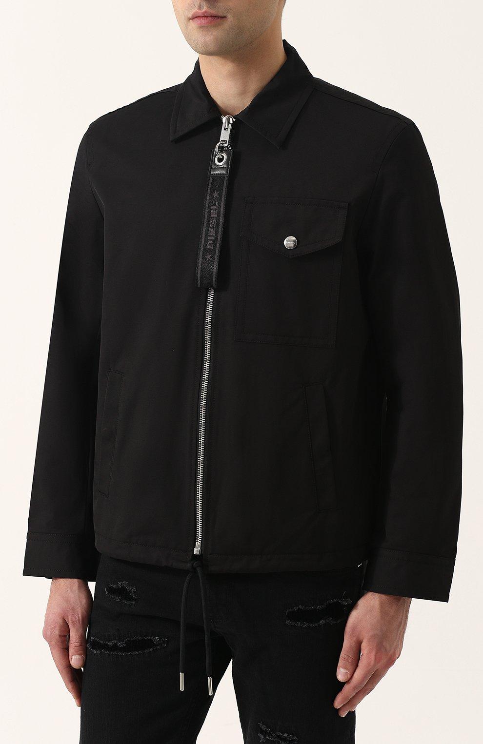 Однотонная хлопковая куртка с отложным воротником Diesel черная | Фото №3
