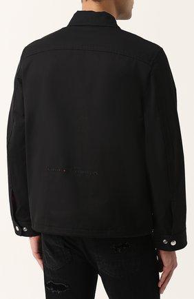 Однотонная хлопковая куртка с отложным воротником Diesel черная | Фото №4