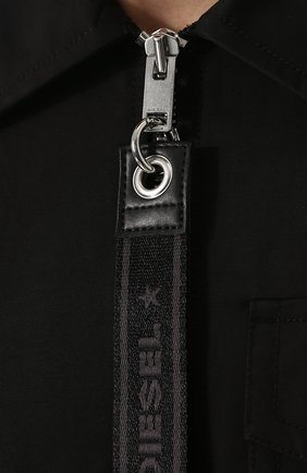 Однотонная хлопковая куртка с отложным воротником Diesel черная | Фото №5