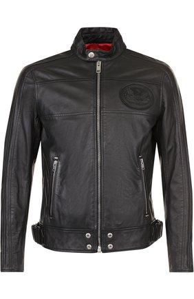 Кожаная куртка на молнии с воротником-стойкой Diesel черная   Фото №1