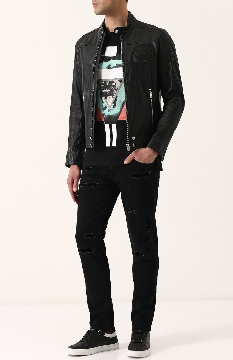 Кожаная куртка на молнии с воротником-стойкой Diesel черная   Фото №2