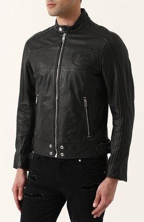 Кожаная куртка на молнии с воротником-стойкой Diesel черная   Фото №3