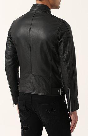 Кожаная куртка на молнии с воротником-стойкой Diesel черная   Фото №4
