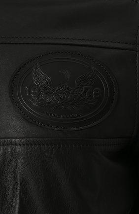 Кожаная куртка на молнии с воротником-стойкой Diesel черная   Фото №5