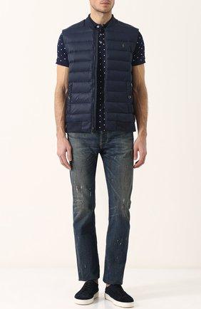 Мужские джинсы прямого кроя с потертостями RRL синего цвета, арт. 782677622 | Фото 2