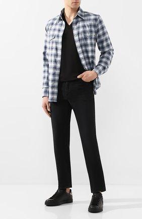 Мужские кожаные кеды portofino с отделкой DOLCE & GABBANA черного цвета, арт. CS1538/AH164 | Фото 2