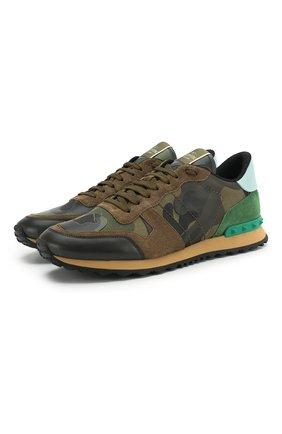 Мужские комбинированные кроссовки valentino garavani rockrunner VALENTINO хаки цвета, арт. PY2S0723/TCC | Фото 1