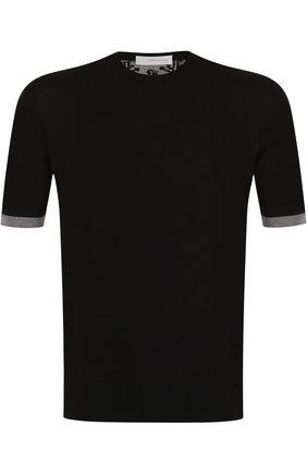 Хлопковая футболка с круглым вырезом Cortigiani темно-синяя | Фото №1