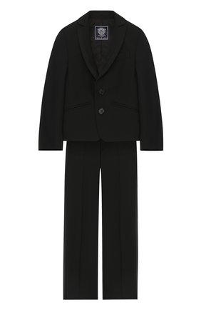 Детский шерстяной костюм с пиджаком на двух пуговицах Dal Lago черного цвета | Фото №1