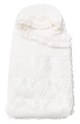 Детский однотонный конверт с оборками и бантами ALETTA кремвого цвета, арт. R88424   Фото 1
