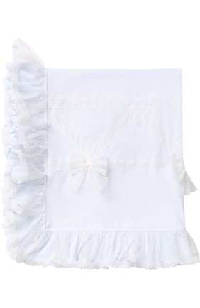Однотонное одеяло с бантами и кружевной отделкой | Фото №1