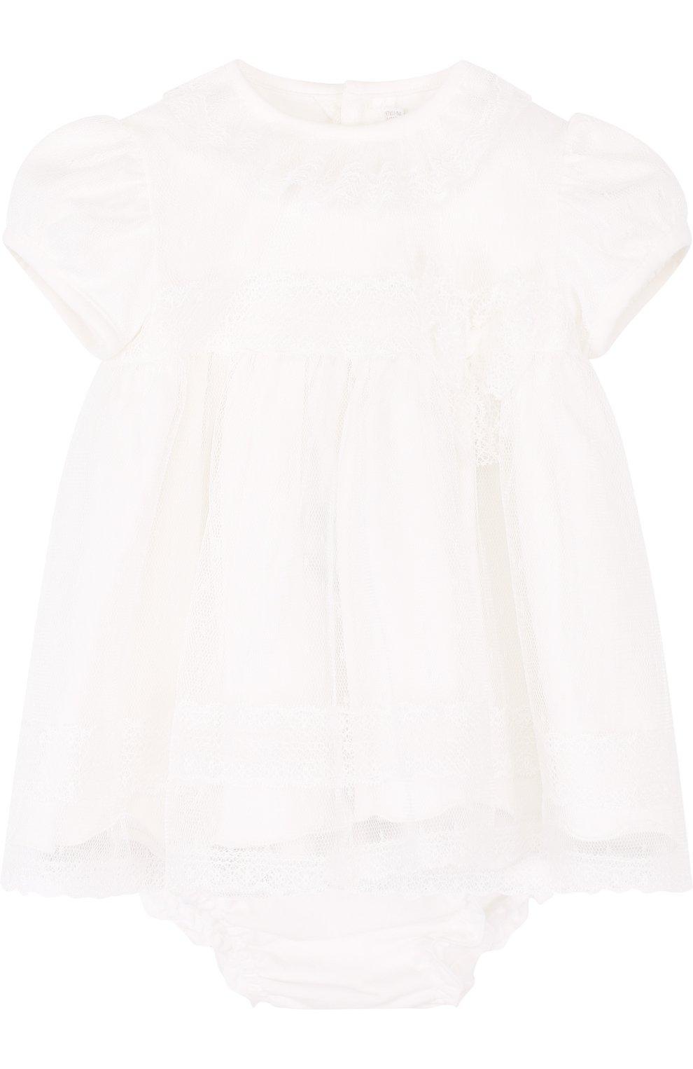 Женский хлопковый комплект из платья и трусов ALETTA кремвого цвета, арт. RB88377/1M-18M | Фото 1